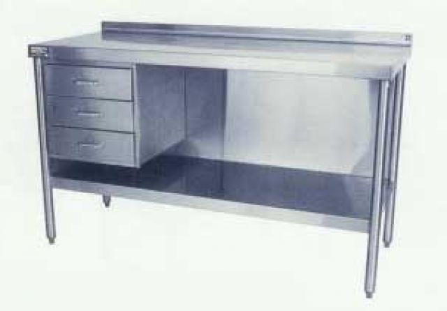 Stainless Steel Work Tables - Stainless steel work table with shelves